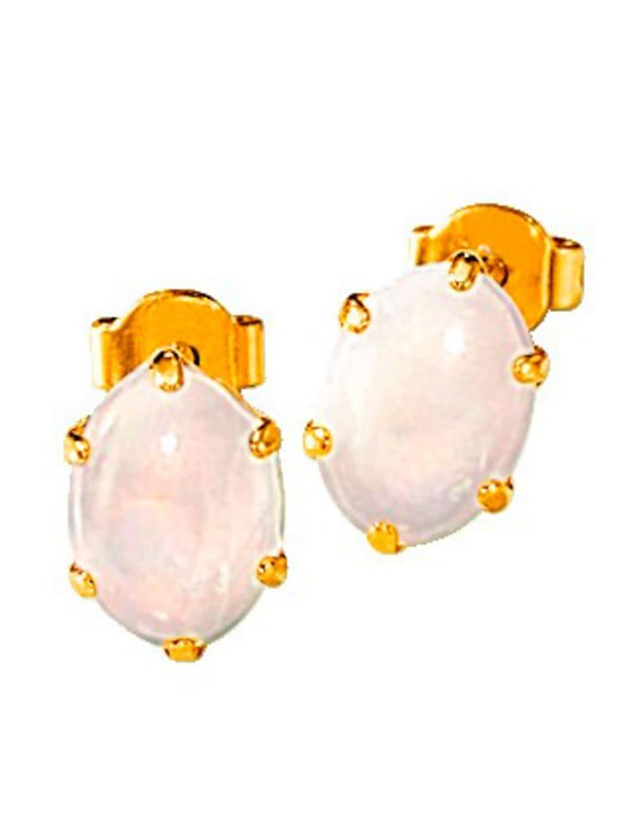 Ohrstecker mit Opal, Weiß