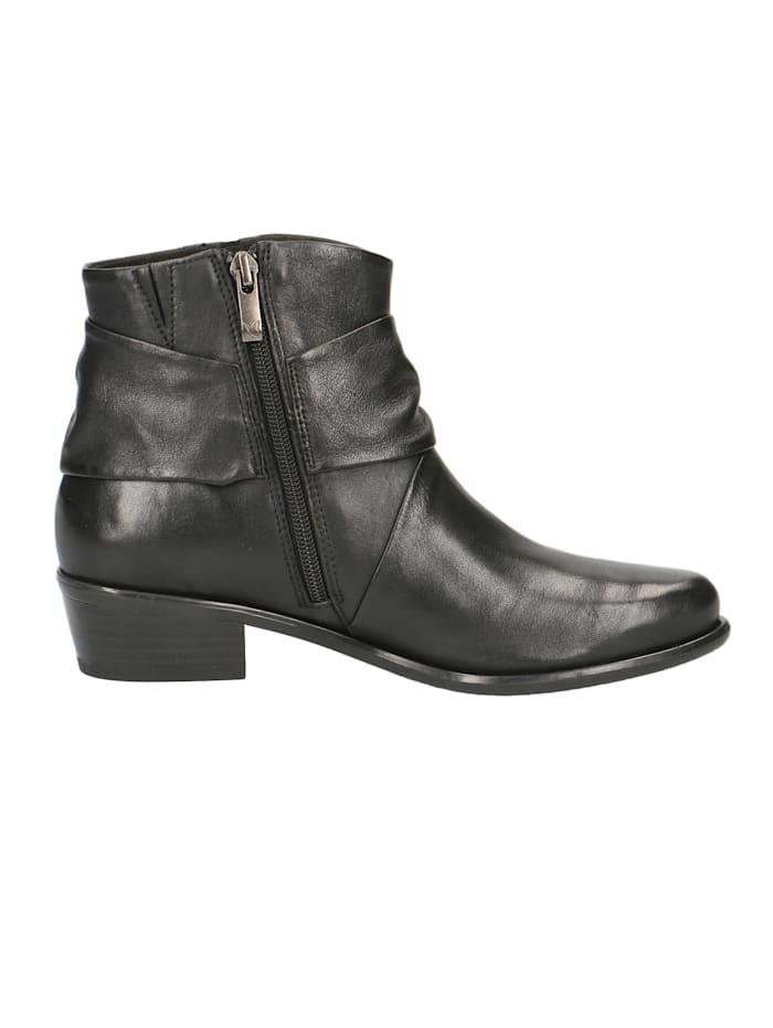 Damen Leder Siefelette Ankle Boot 9-25360 040 Black Soft Nap Schwarz