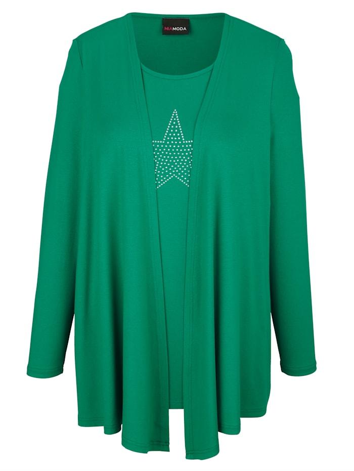MIAMODA Tričko 2v1 s motívom hviezdy s nitmi, Zelená