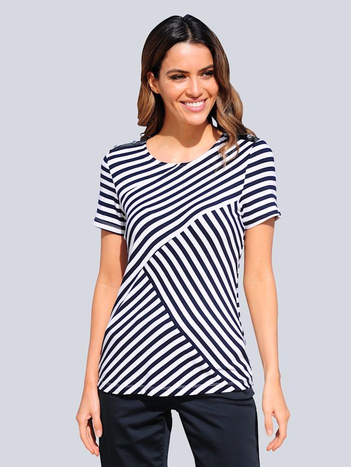 Alba Moda Strandshirt mit Ripsband, Marineblau/Weiß