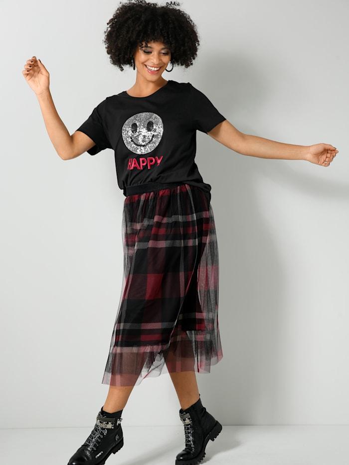 Angel of Style Shirt mit Pailletten-Smiley und Stickerei, Schwarz/Silberfarben/Rot
