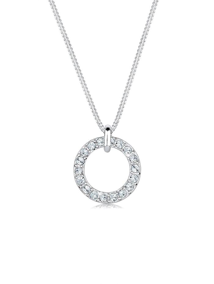 Elli Halskette Kreis Kreis Kristalle 925 Silber, Weiß