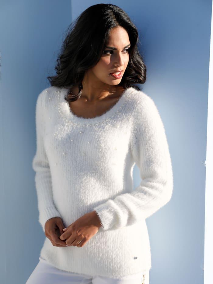 AMY VERMONT Pullover mit Perlendekoration, Weiß