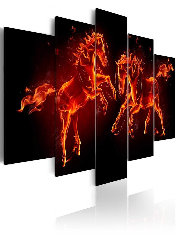 artgeist Wandbild Feurige Pferde, black,orange