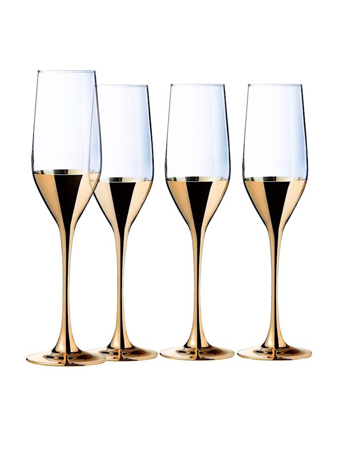 Creatable Lot de 4 verres à champagne 'Golden Days', Coloris or