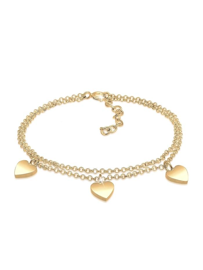 Elli Armband Herz Symbol Love Trio Layer Erbskette 925 Silber, Gold