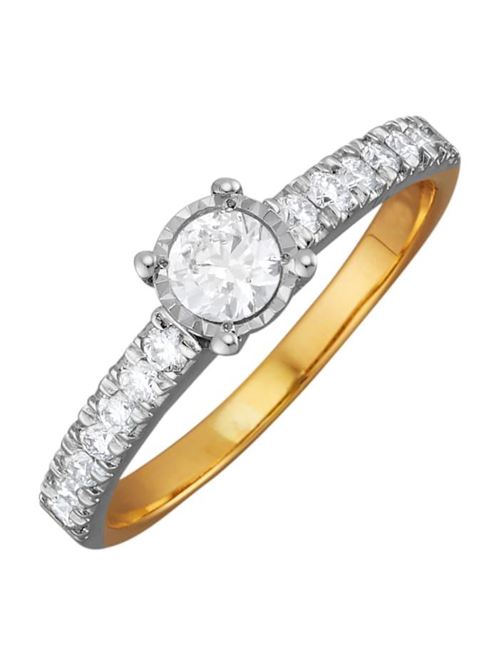 Amara Diamants Bague en or jaune 585, Blanc