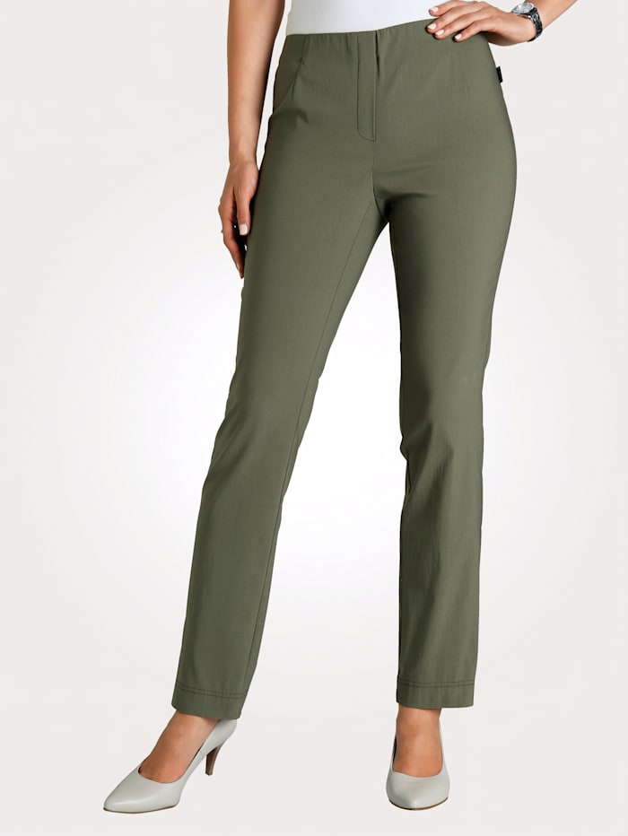 MONA Pantalon en matière extensible, Olive