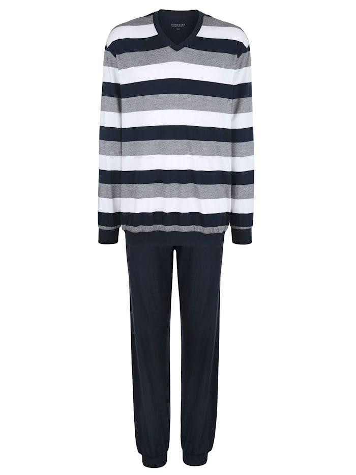 Schiesser Pyjama de la collection Schiesser BASIC et COLOR, Bleu