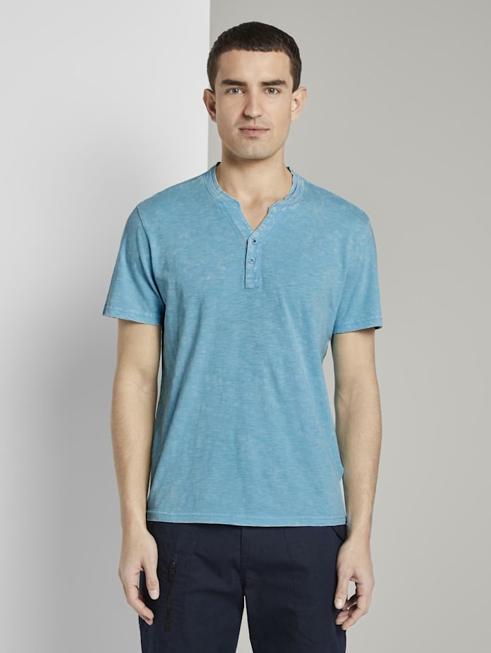 Tom Tailor Henley-T-Shirt im Washed-Look, crystal sea blue
