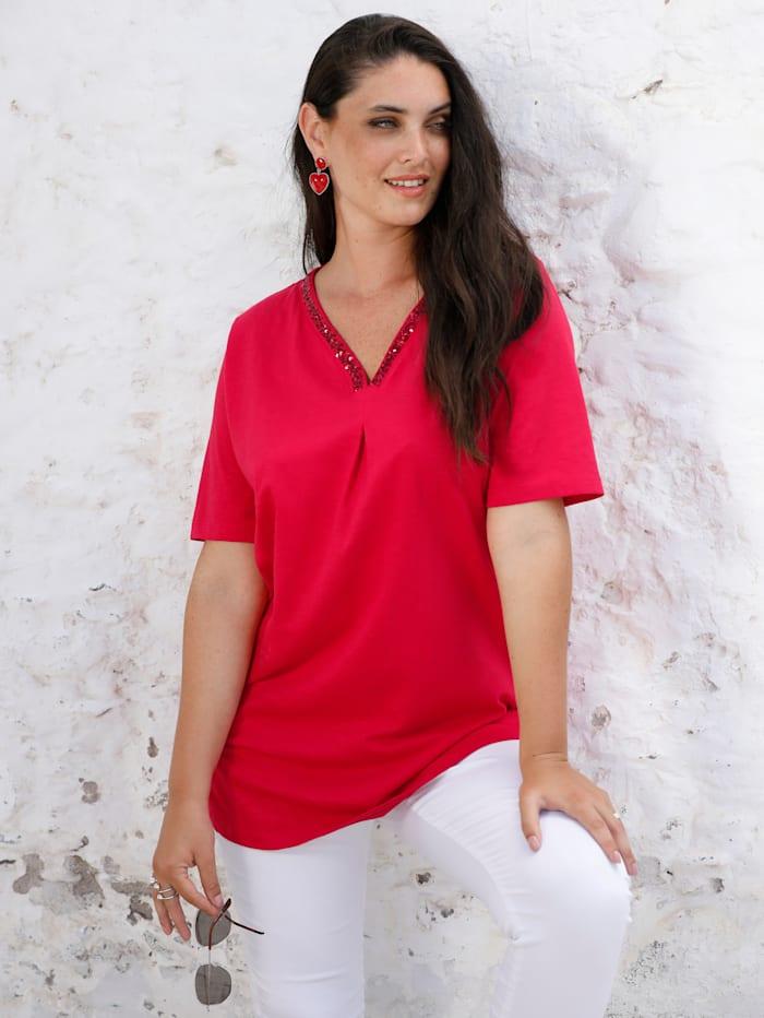 MIAMODA Shirt mit Pailletten am Ausschnitt, Rot