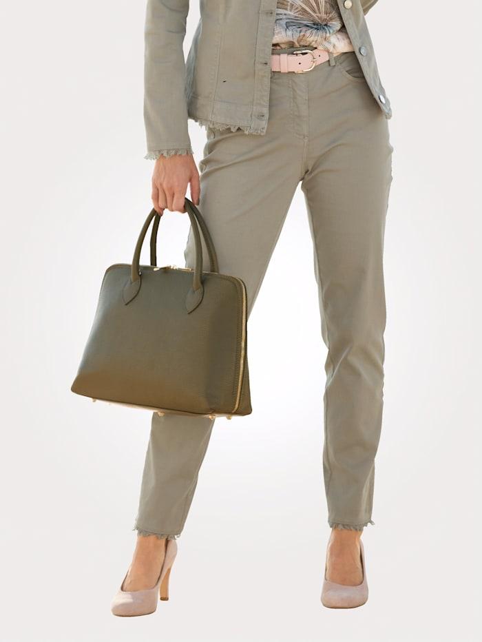 MONA Hose mit modischen Cut- Outs, Salbeigrün
