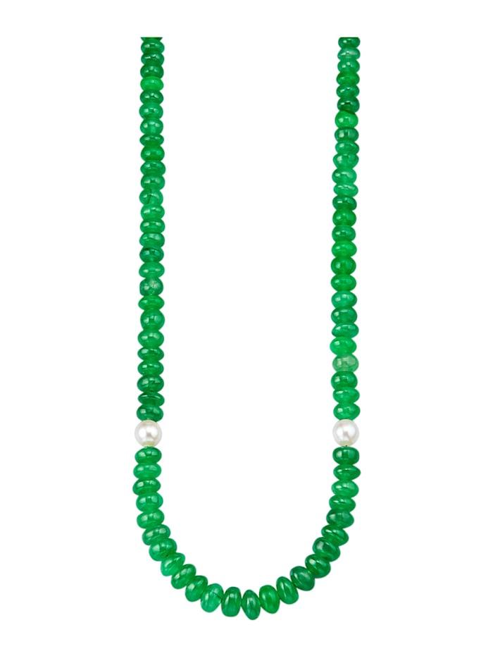 Amara Pierres colorées Collier avec jade avec perles de culture d'eau douce, Vert