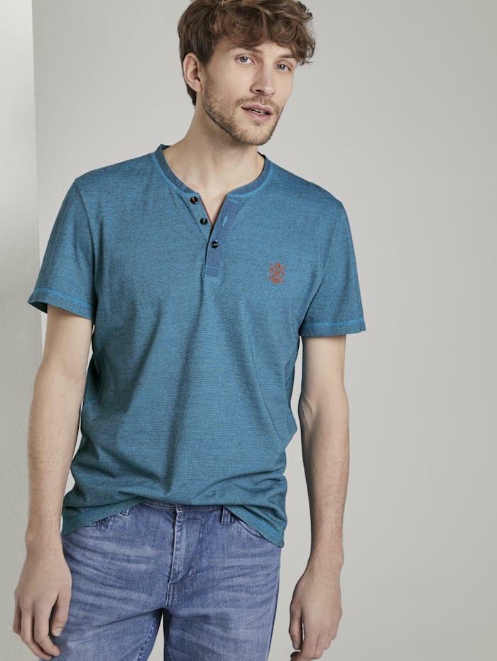Tom Tailor Serafino T-Shirt mit Farbmusterung, teal overdye stripe