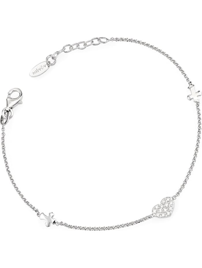 Amen Amen Damen-Armband 925er Silber 13 Zirkonia, silber