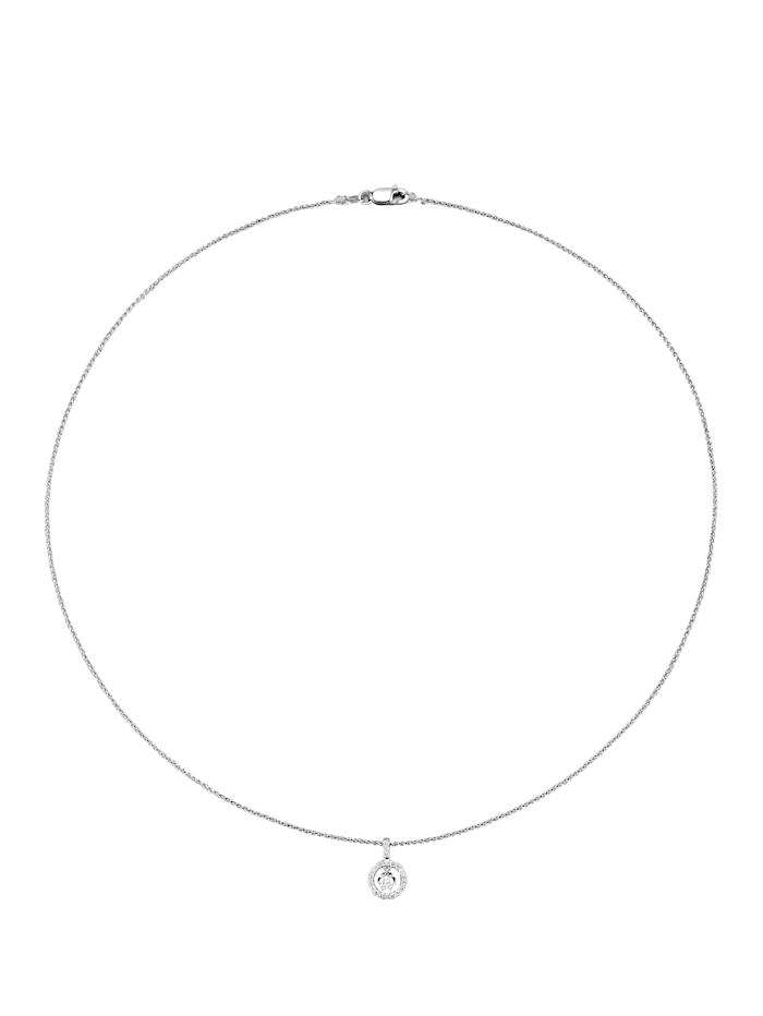 Valkokultainen timanttiriipus ja kaulaketju
