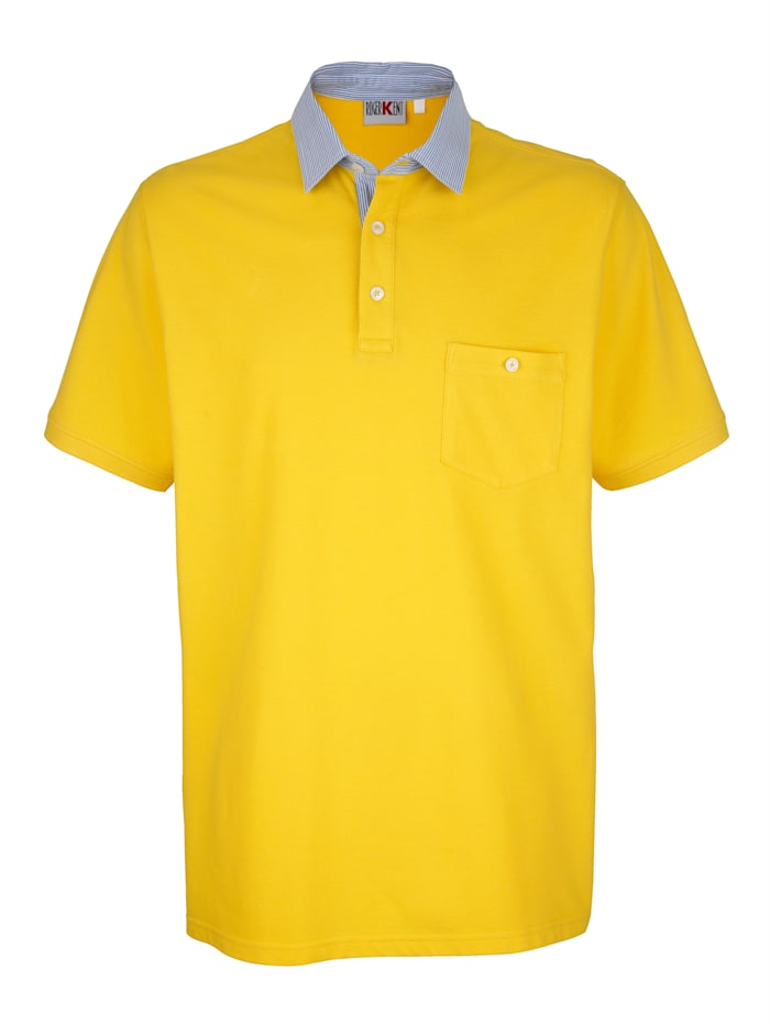 Roger Kent Poloshirt mit Kontrastkragen, Gelb