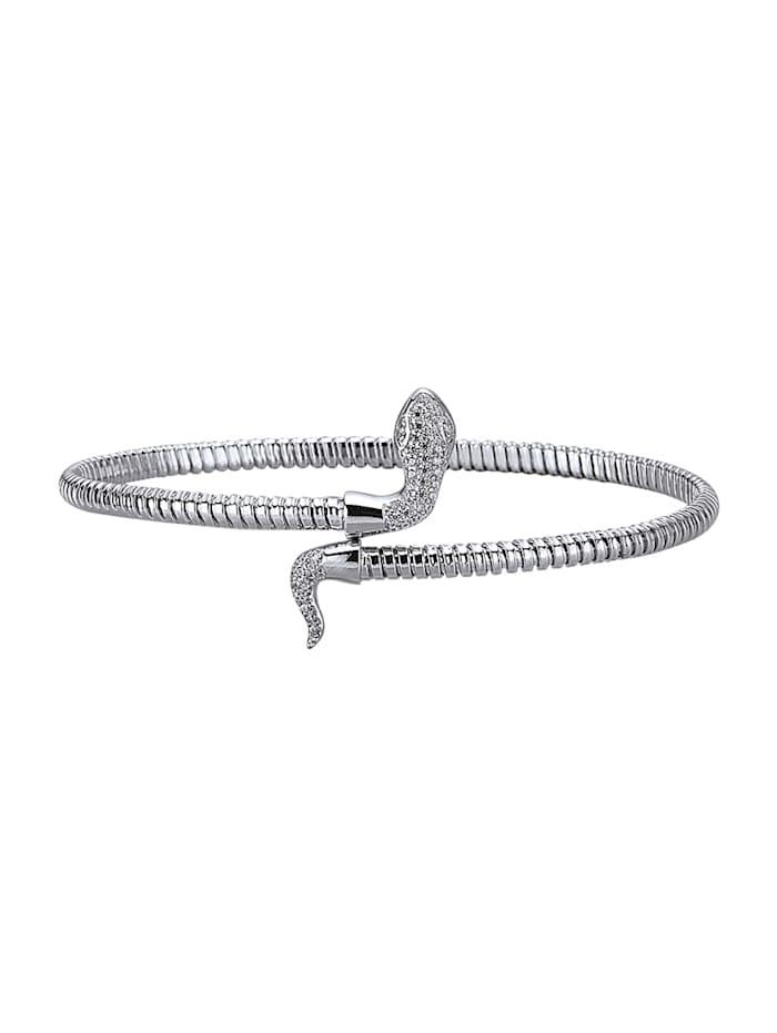 Diemer Trend Schlangen-Armspange mit weißen synth. Zirkonia, Silberfarben
