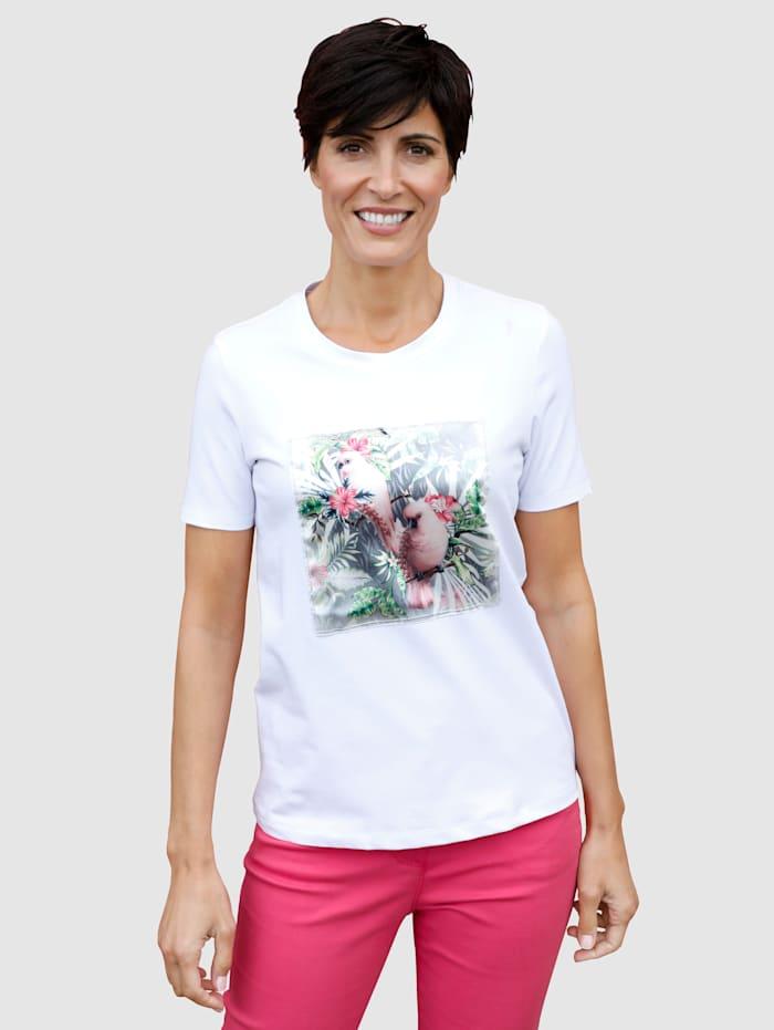 Paola Shirt mit appliziertem Druckmotiv, Weiß