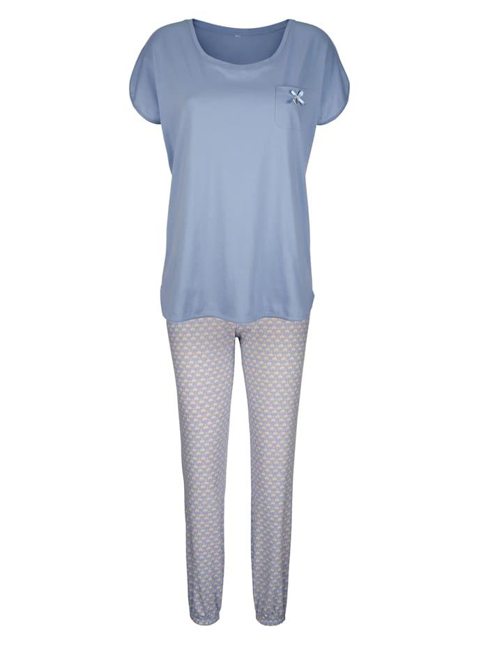 Simone Schlafanzug mit niedlicher Brusttasche, Hellblau/Creme-Weiß/Ecru