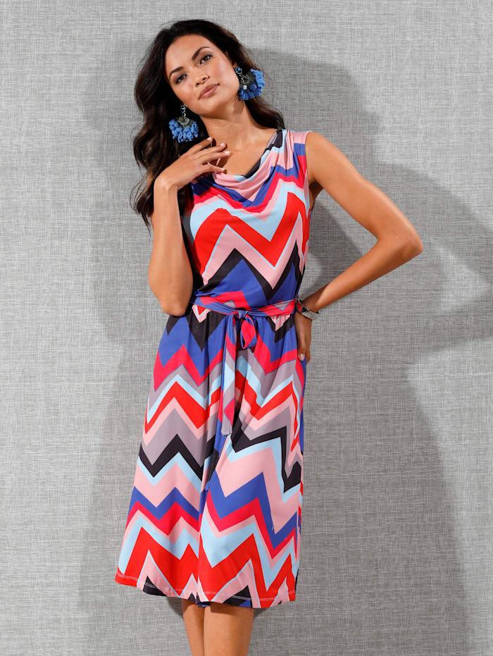 AMY VERMONT Jerseykleid mit Wasserfall-Ausschnitt, Blau/Rot/Rosé