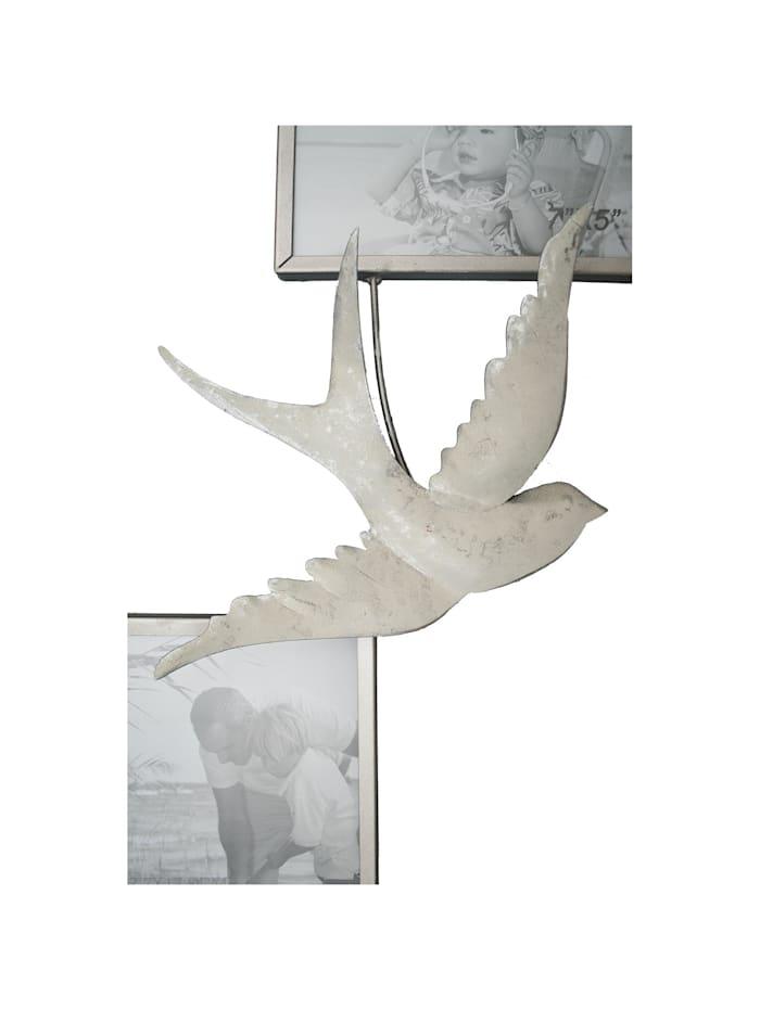 NTK-Collection Wanddeko Bilderrahmen mit Schwalben, Weiß, Silber