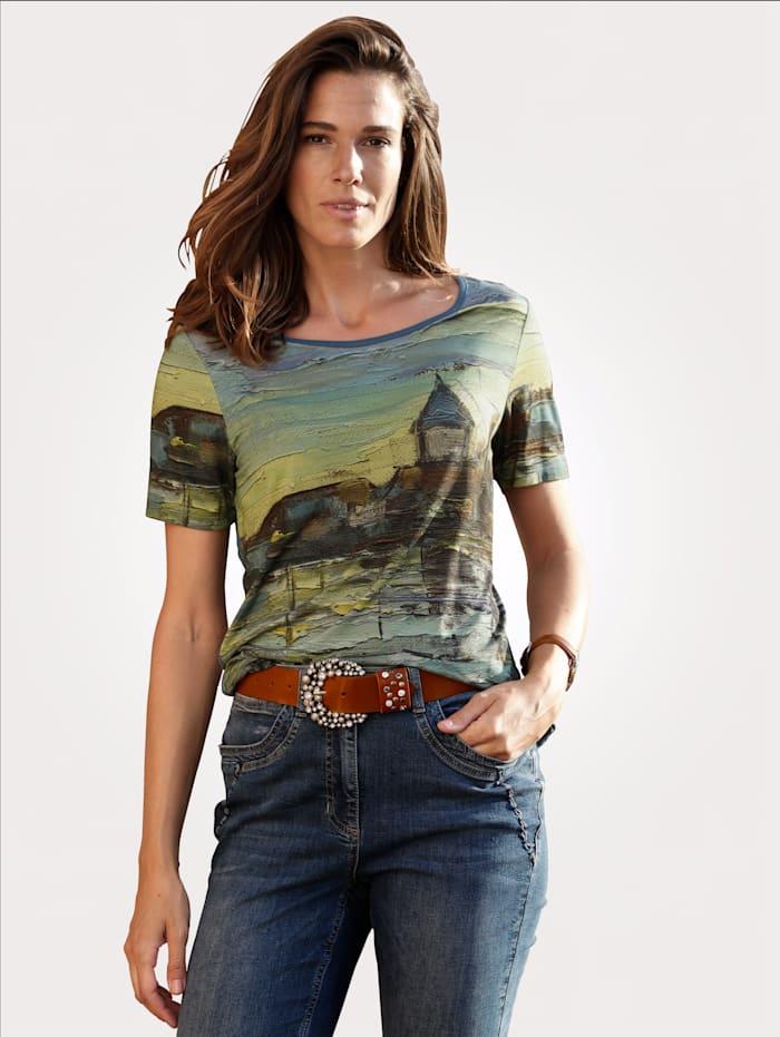 MONA Shirt mit farbharmonischem Druckmotiv, Grün/Petrol
