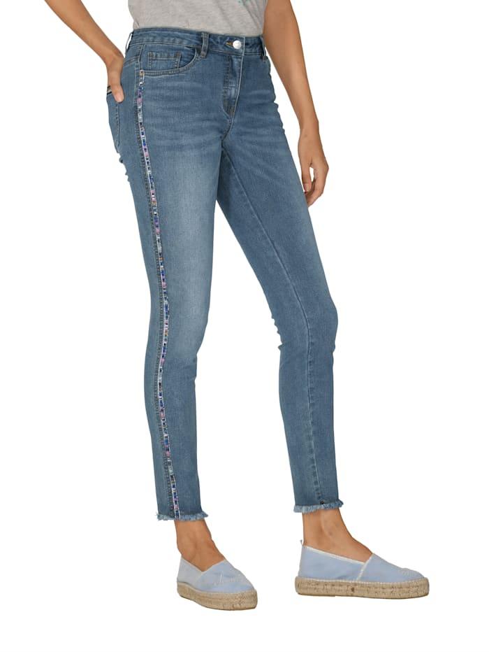 Laura Kent Jeans met sierband en siersteentjes, Blue bleached