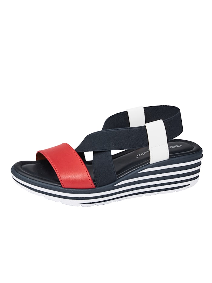 Liva Loop Sandaaltje met elastische gekruiste bandjes, Marine/Rood/Wit