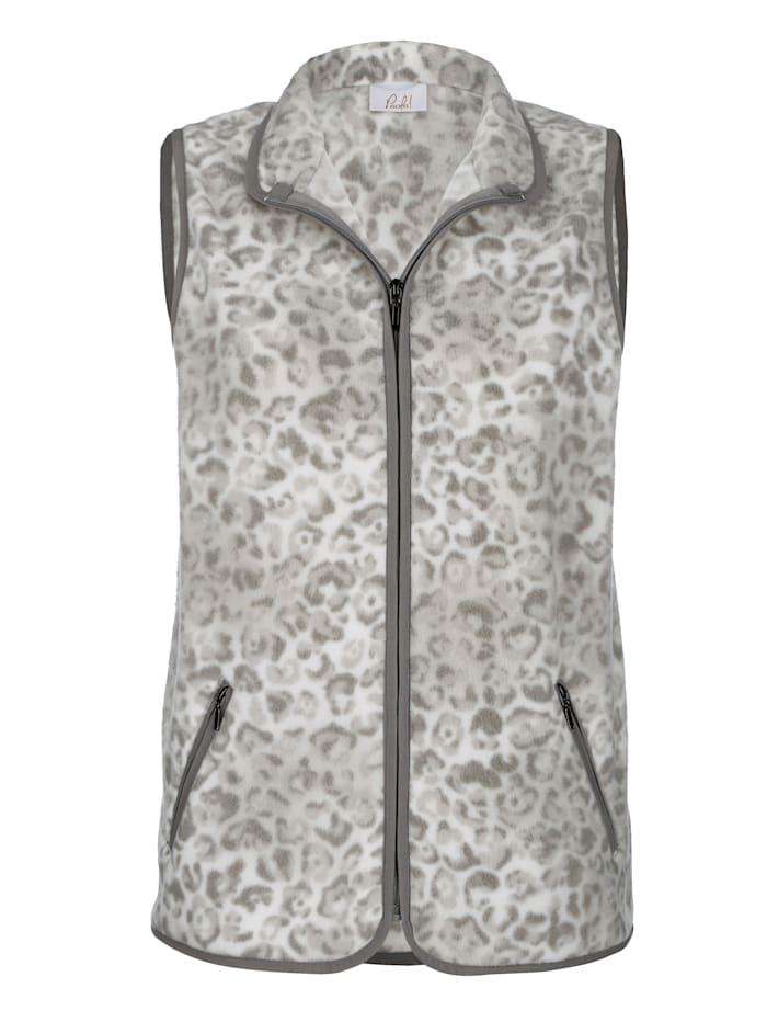 Paola Fleece bodywarmer met contrastkleurige details, Ecru/Grijs