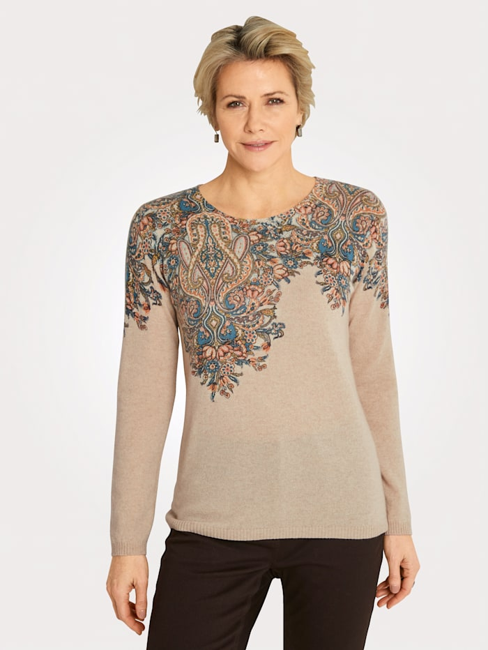 MONA Pullover aus reinem Kaschmir, Sand/Blau