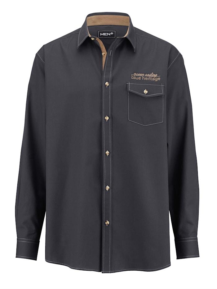 Men Plus Hemd aus reiner Baumwolle, Nachtblau/Beige