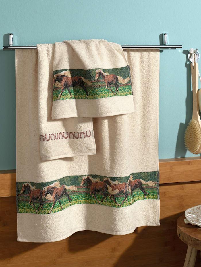 Dyckhoff Handdoeken Paarden, ecru
