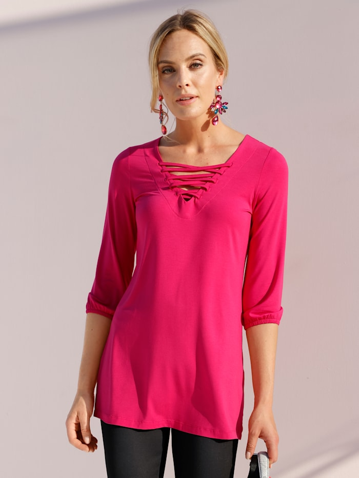 AMY VERMONT Longshirt mit Schnürung am Ausschnitt, Pink