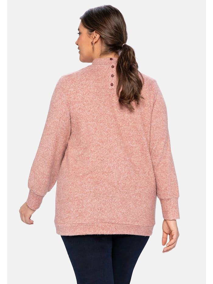 Langarmshirt aus Feinstrick mit Knopfleiste im Rücken