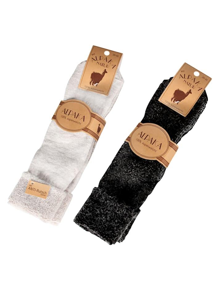 GHZ Chaussettes en laine d'alpaga 2 paires, Anthracite