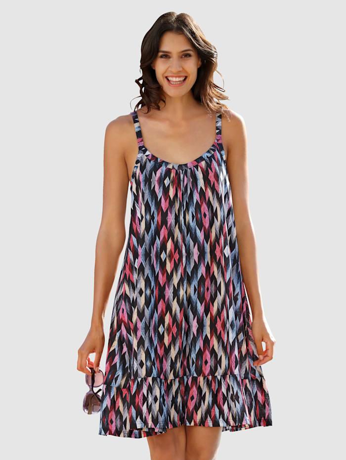 Maritim Strandkleid mit Stufe, Marineblau/Weiß/Rot