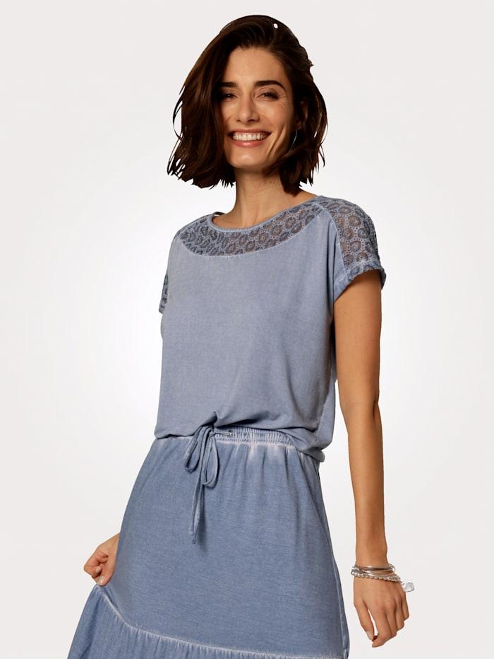 MONA Shirt mit modischer Waschung, Eisblau
