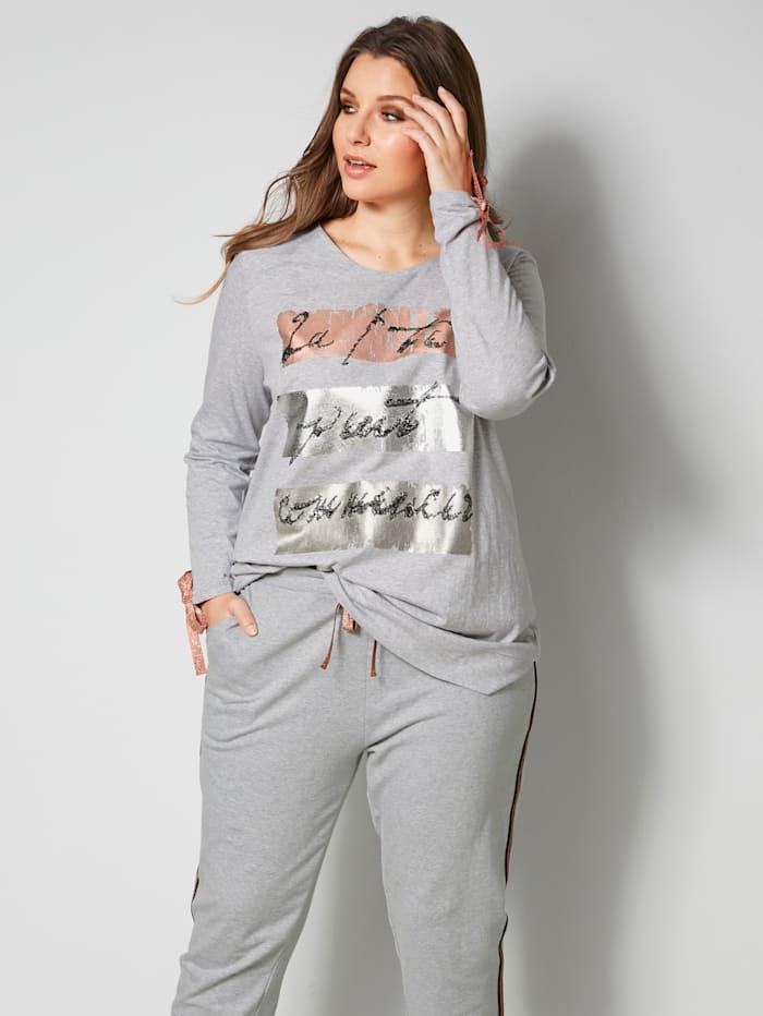 Sara Lindholm Shirt mit glitzernden Bändern am Ärmelsaum, Grau