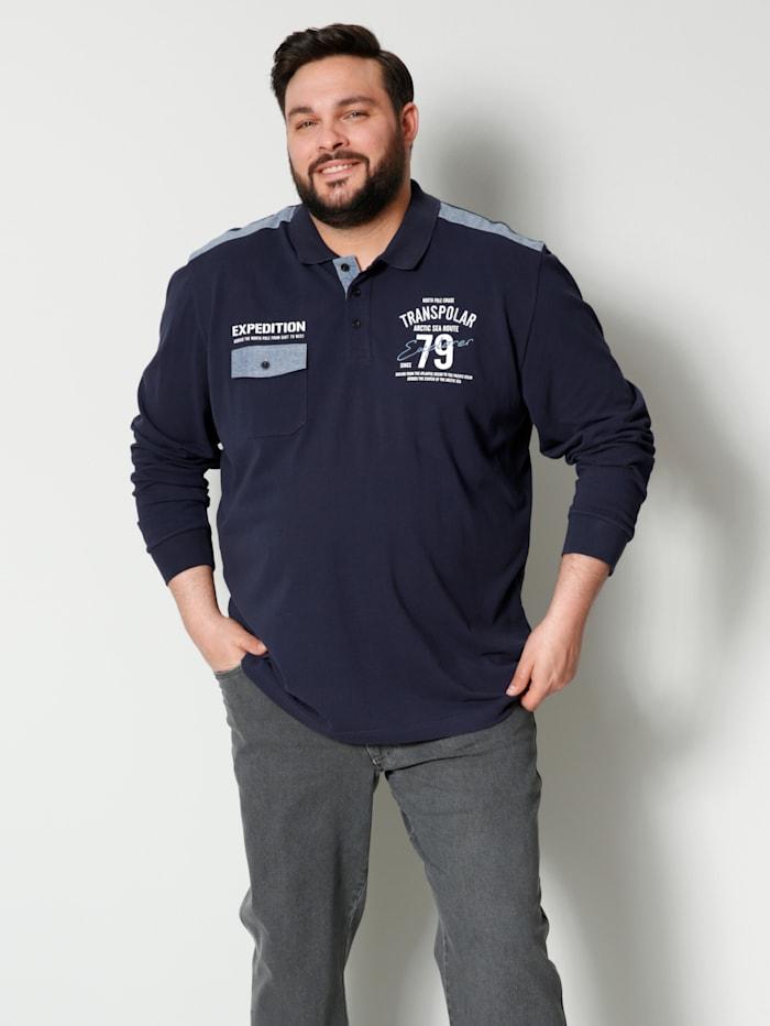 Men Plus Poloshirt aus reiner Baumwolle, Marineblau/Rauchblau