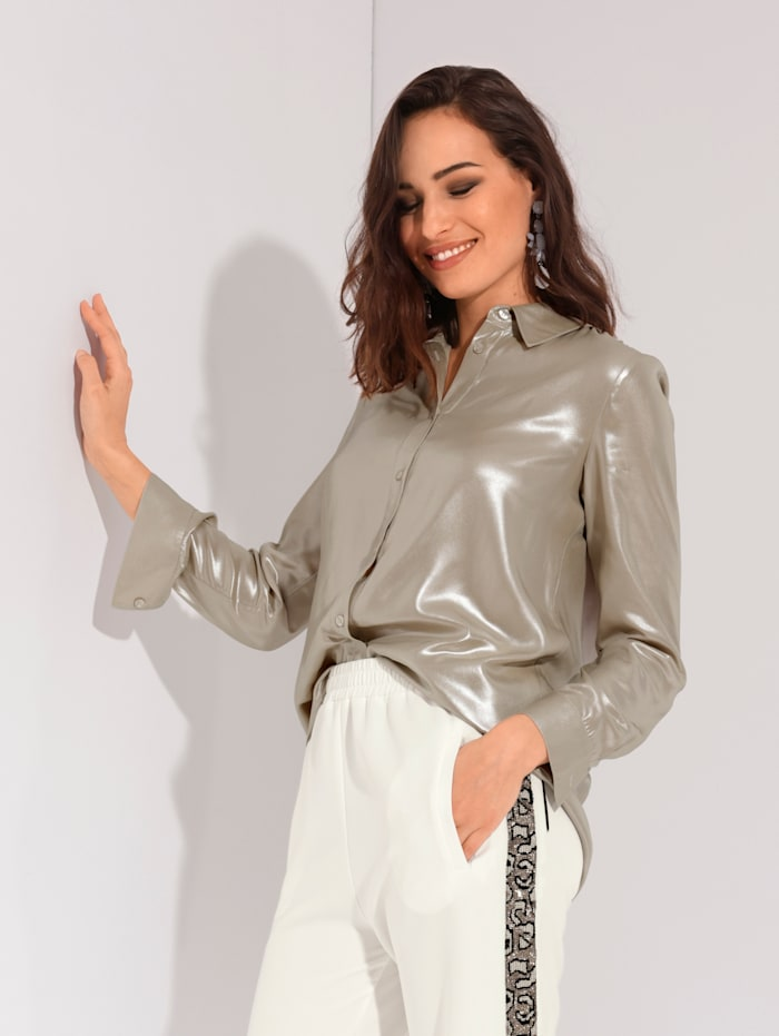AMY VERMONT Bluse mit Glanz allover, Taupe