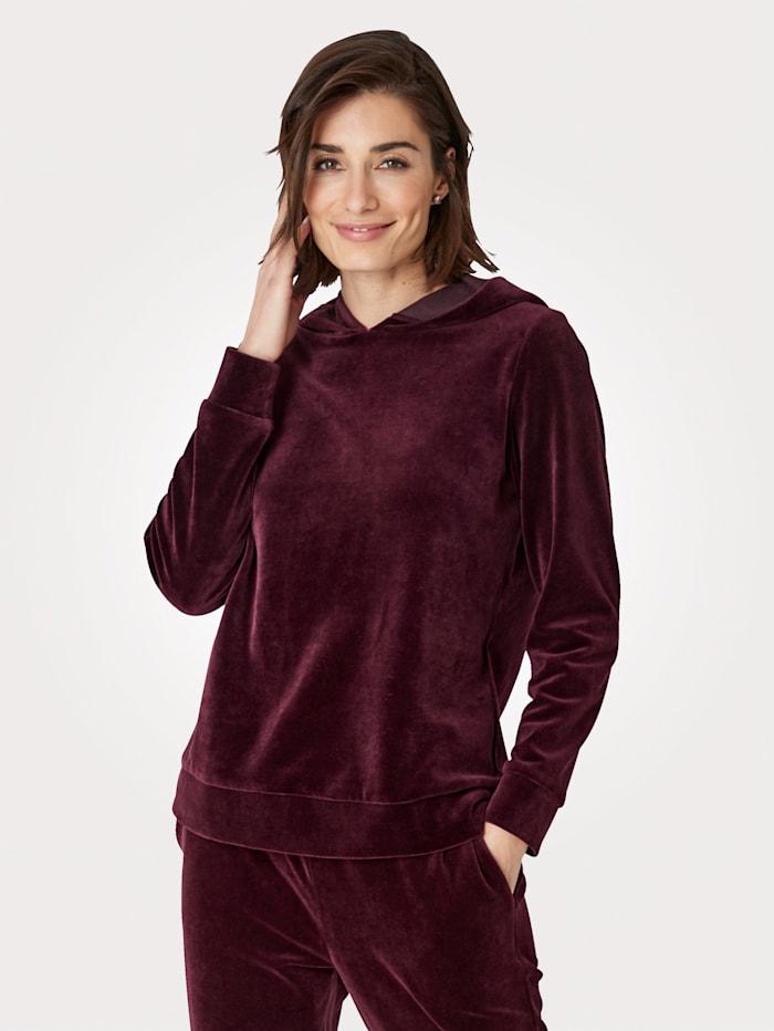 MONA Sweatshirt van zacht velours, Berry