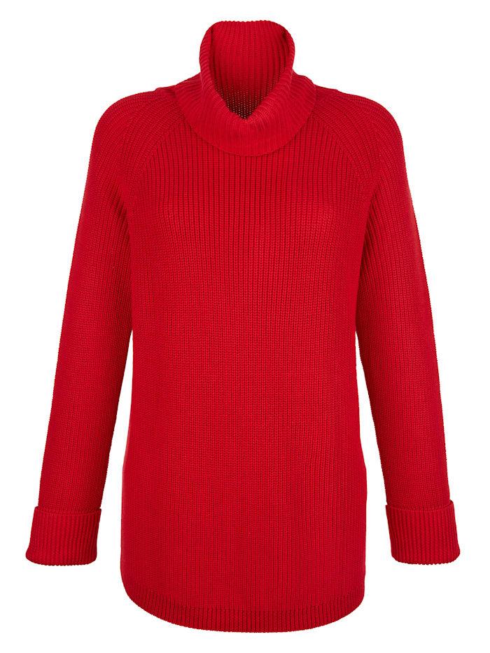 Alba Moda Pullover mit großzügigem Rollkragen, Rot