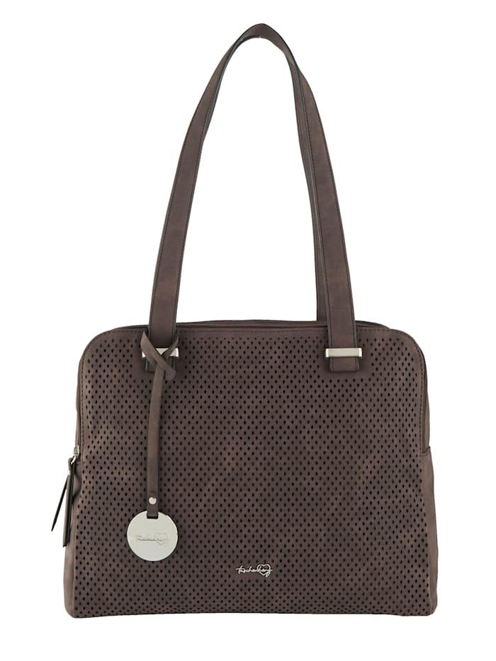 Taschenherz Väska med perforeringar, Mörkbrun