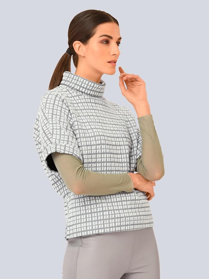 Alba Moda Shirt in schön strukturierter Qualität, Off-white/Schwarz