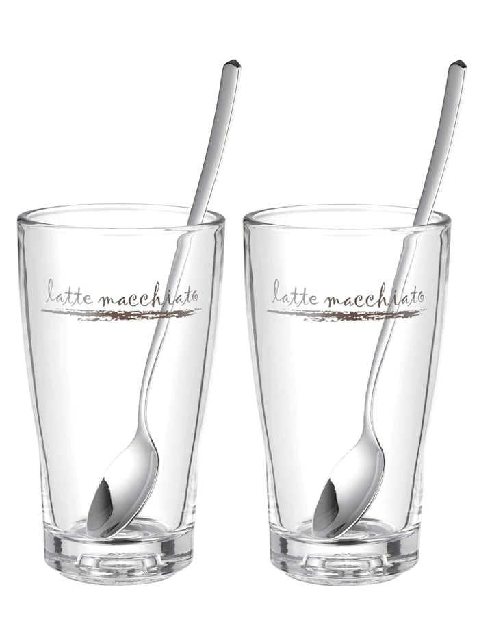 WMF 2 latte macchiato-glas med sked, ofärgad