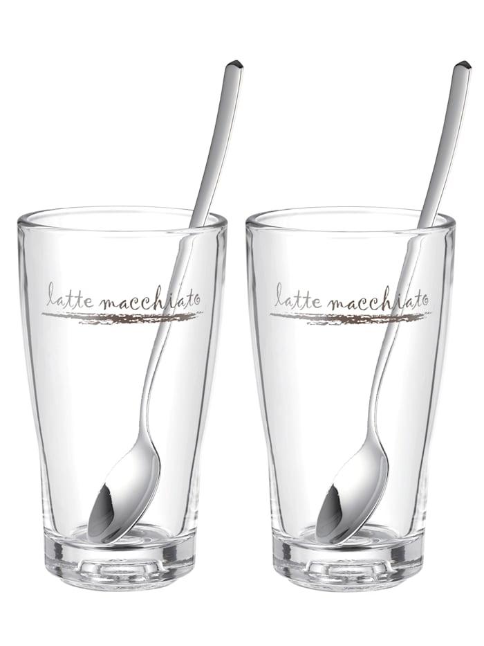 WMF Set van 2 latte macchiatoglazen Barista, Zonder kleur