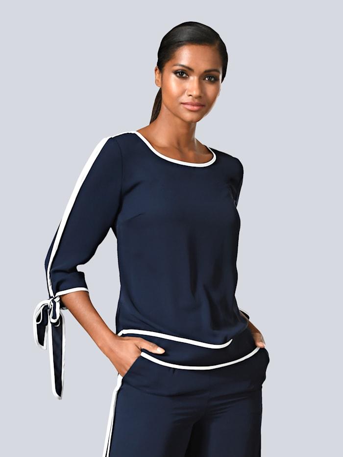 Alba Moda Bluse mit kontrastfarbenem Piping, Marineblau/Weiß