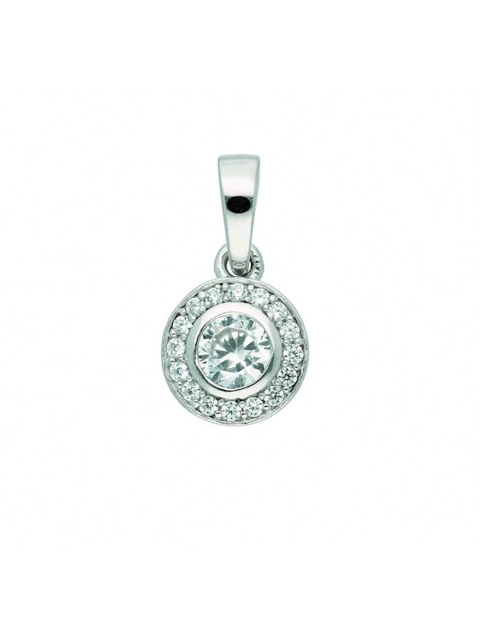 1001 Diamonds Damen Silberschmuck 925 Silber Anhänger mit Zirkonia Ø 7,4 mm, silber
