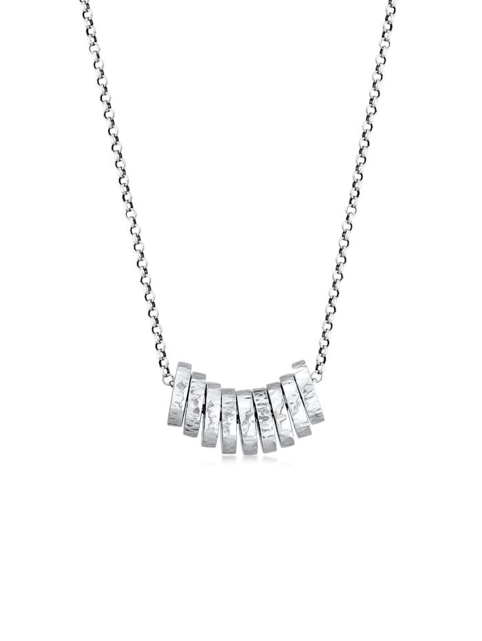Kuzzoi Halskette Herren Erbskette Gehämmert Ringe Basic 925 Silber, Silber